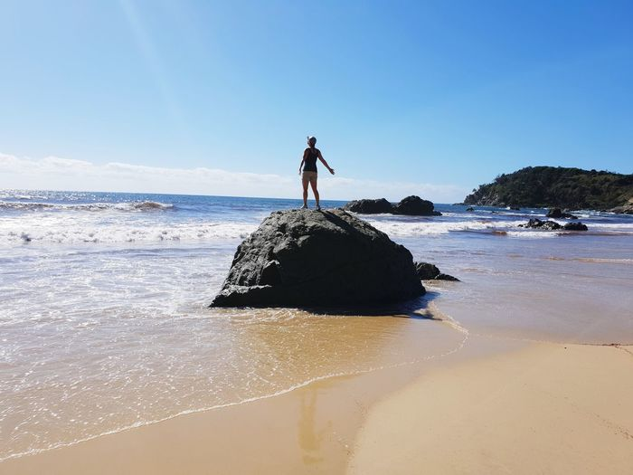 Happiness Port Macquarie New South Wales  Australia Paradise Blue Sky Morning Walk Rock Beach Sand Ocean Waves Miners Beach Moments Of Happiness Full Length Water Beach Sea Clear Sky Blue Sand Salt - Mineral Low Tide International Women's Day 2019