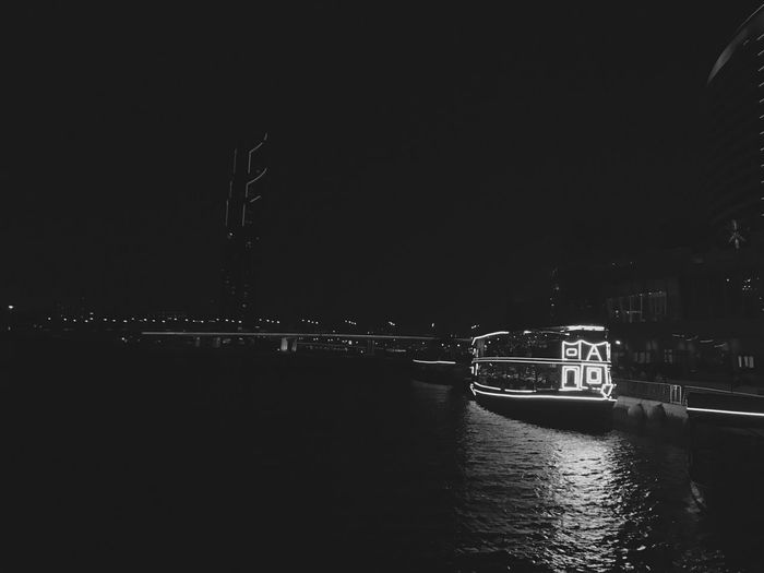 The City Light Transportation Nautical Vessel Water River Illuminated Connection Outdoors The Way Forward Dubai Blackandwhite Dhowcruise