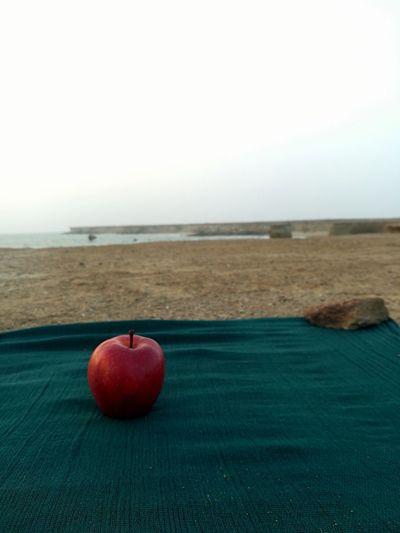 EyeEm Best Shots EyeEmNewHere EyeEm Selects Water Sea Fruit Red Apple - Fruit Beach Copy Space Sky Horizon Over Water Close-up