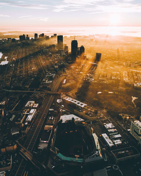 Sunrise over Boston, Massachussetts Aerial View Architecture Building Exterior Built Structure Car City City Life Cityscape Cloud - Sky Connection Downtown District Dusk High Angle View Highway Illuminated No People Outdoors Sky Skyscraper Sunset Traffic Transportation Travel Travel Destinations Urban Skyline First Eyeem Photo EyeEmNewHere