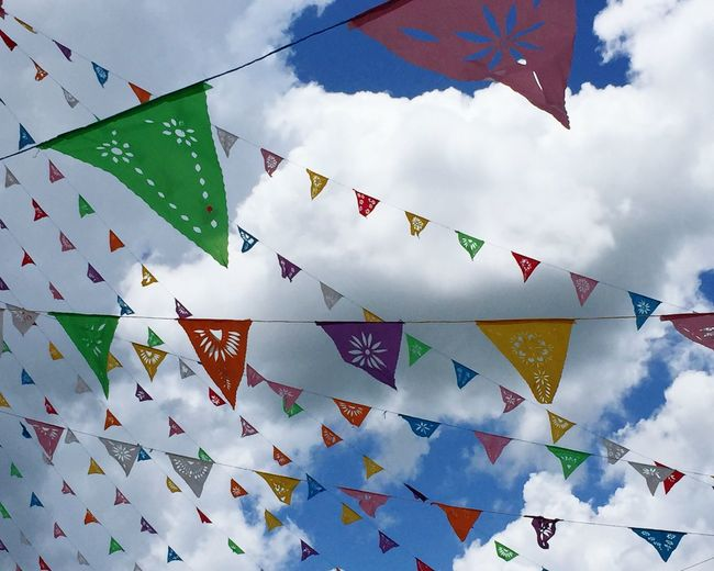 Festivities in Temozón, Yucatan, Mexico Low Angle View Multi Colored Bunting Outdoors No People Flag