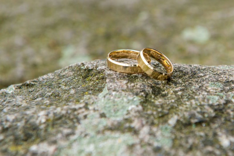 Wedding Photography Close-up Engagement Ring Finger Ring Gold Gold Colored Jewelry Love Ring Rings On The Stone Selective Focus Togetherness Unity Wedding Wedding Day Wedding In Poland Wedding Ring