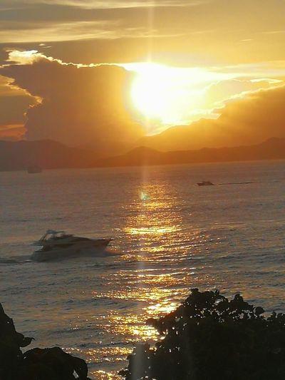 Sunset Sea Sun Beach Dramatic Sky Water Sunbeam