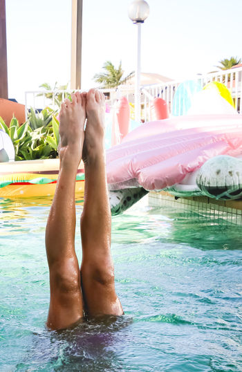 handstands in the pool, summertime fun Water barefoot Body Part Human Body Part Low Section Human Leg Pool One Person Nature Swimming Pool Leisure Activity Real People Lifestyles Day Relaxation Human Foot Outdoors Childhood Girls Handstand  Summertime Fun Submerged