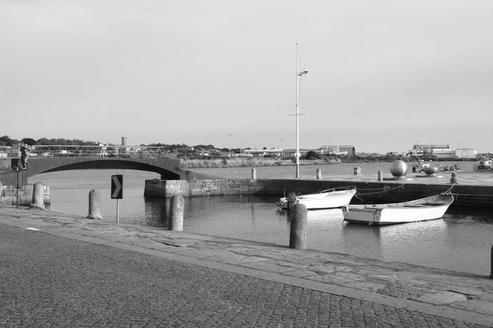 Black And White Blackandwhite Boat Clear Sky Engineering Marina Memories Mode Of Transport No People River Scenics Sea Transportation Vila Do Conde Water Monochrome Photography Monochrome Photograhy