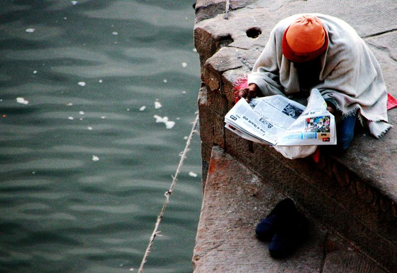 India A Newspaper Man The Ganges River Varanasi