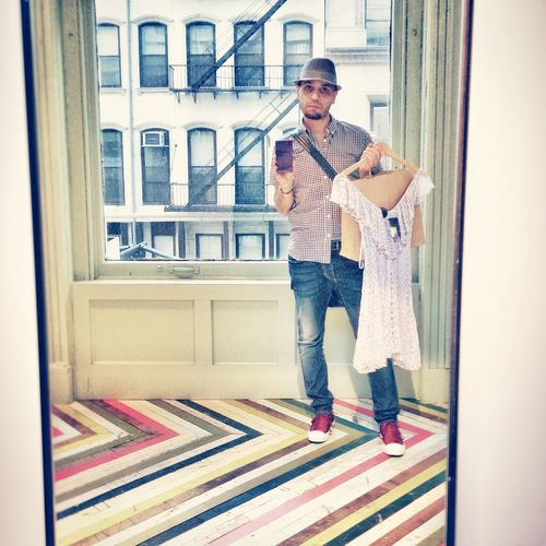 Self Portrait Selfportrait Selfies Me Myself Mirror Dress Fashion Shopping Store Window Colors Colorful Lines NYC New York Manhattan City Guy Boy Hat Jeans Sneakers Shirt EyeEm Gallery