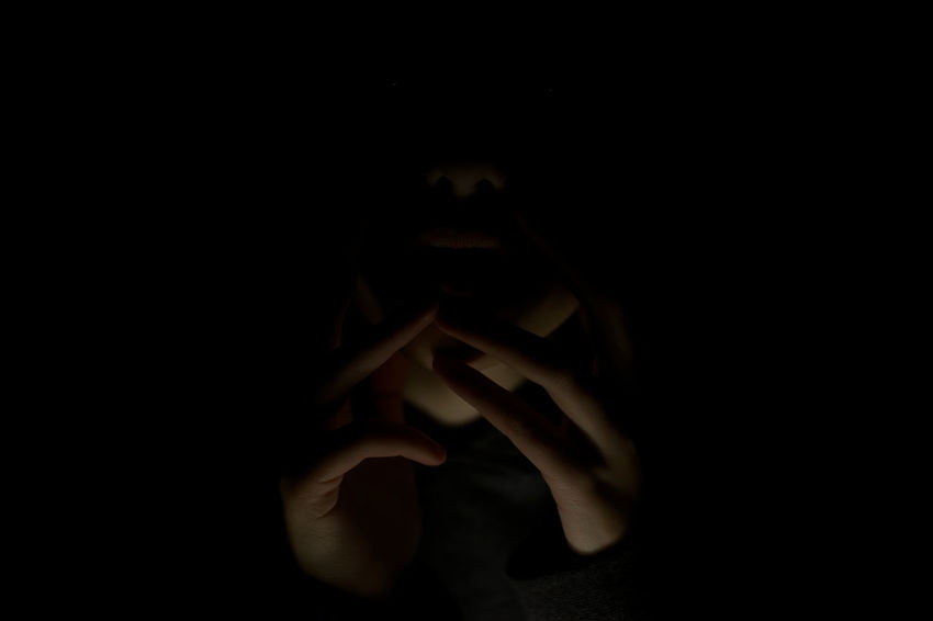 shhhhh Dark Indoors  Human Hand Black Background