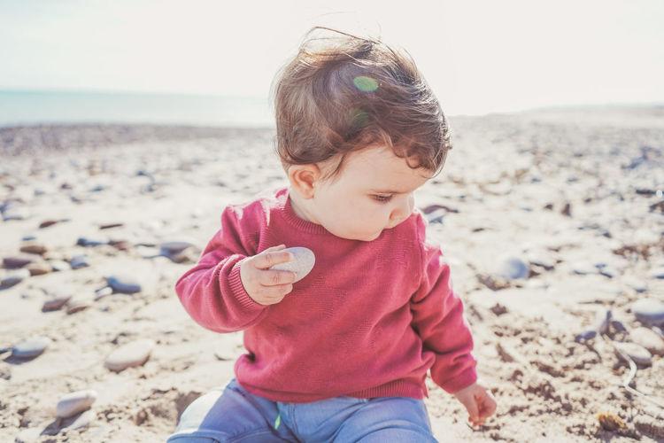 Cute boy on beach
