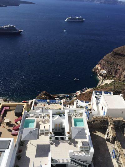 Vacation Home Swimming Pool Mediterranean Sea Cruise Ship Thira(Fira) Santorini Idyllic Scenery Water Sea Nautical Vessel Mode Of Transportation Transportation Beach Travel