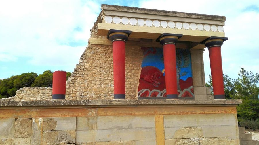 Architecture Built Structure Architectural Column Sky Building Exterior No People Low Angle View Outdoors Flag Travel Destinations Patriotism Cloud - Sky Day Crete Crete Greece Greece Knossos Knossos Palace Knossos Crete Building History Historycal Place History Building History Of Arts Vacations