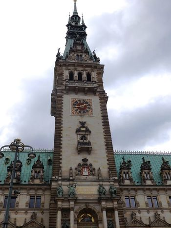 Hamburg, Town Hall Architecture Building Exterior Built Structure Clock Tower Cloud - Sky Hamburg History Outdoors Sky Townhall Tower Travel Destinations