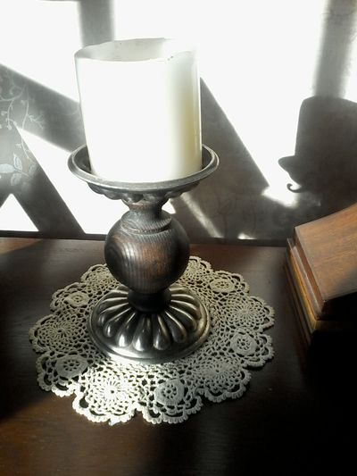 Candle Shadow Sepia Black And White antique lace