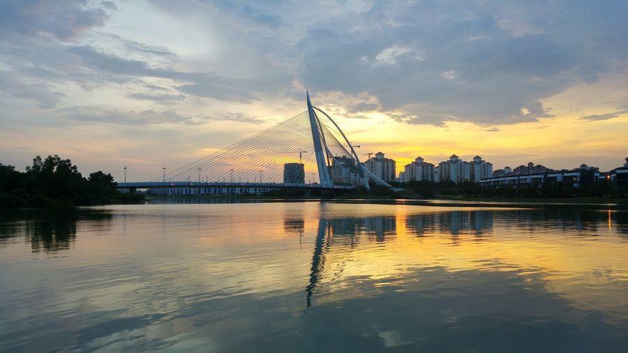 Wawasan Bride Modern Bridge,Seri Wawasan,Putrajaya,Malaysia Sunset, Reflection