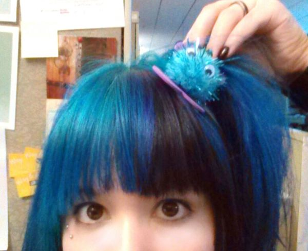 Being silly at work. Blue Hair