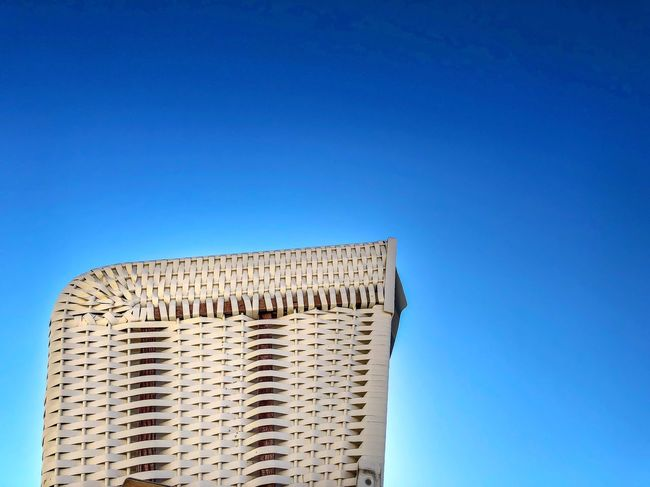 Summersky Summer Beach Beachchair Blue Sky Clear Sky Architecture Built Structure Low Angle View Copy Space Travel Destinations Pattern No People Building Exterior Nature Day History The Past Sunlight Outdoors Building Travel Old