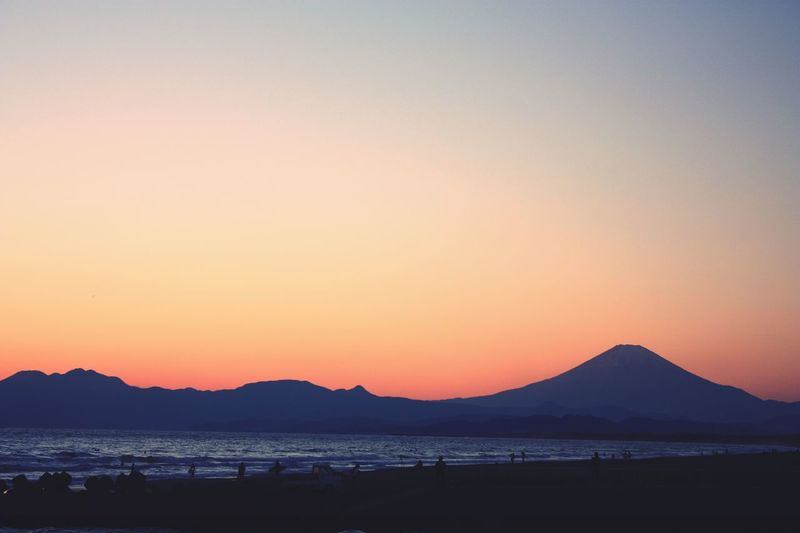 Japan Ocean Sunset Colors Sun Nature Orange Winter Mt.Fuji Sunshine