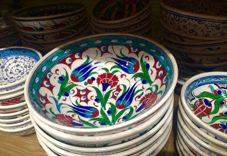 Abstract Art Close-up Colorful Creativity Decoration Design Detail Dishes Full Frame Large Group Of Objects Multi Colored National Pattern No People Ornate Pattern Plates Side By Side Still Life Turkey Turkish Pattern Utensils Variation