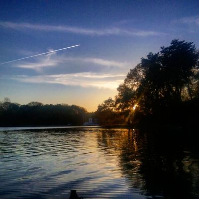 Jet Stream Sunset Nice Colors Water Reflections Kayaking In Nature No People My Backyard Oasis California MD USA