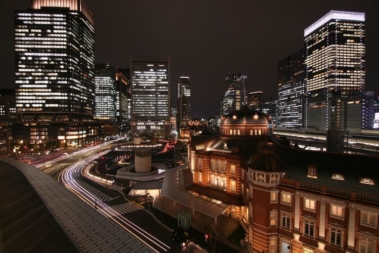 Nightphotography Building City Light Tokyo Station