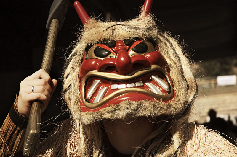 Close-up of man during halloween mask