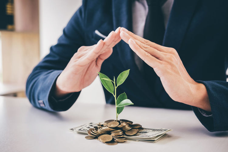 Midsection Of Businessman Gesturing By Plant In Money On Desk