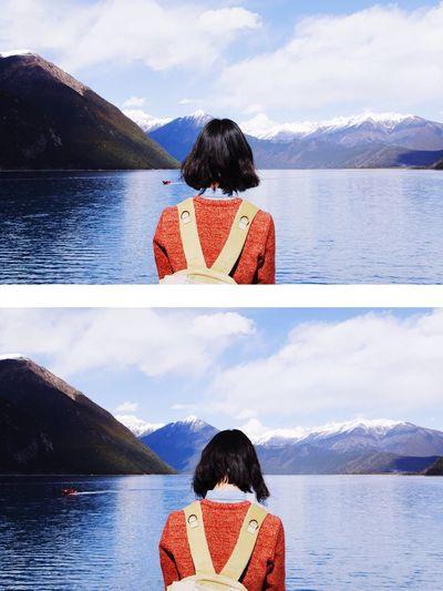 回忆是冲不淡的时光,我还在一样的渴望,陪你踏上飞驰的列车,追随这粼粼的波光。 Tibet China EyeEm Selects Young Women Women Rear View Headshot Snow Relaxation Warm Clothing