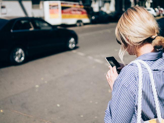 Woman Blonde Hair Smartphone Using Smartphone