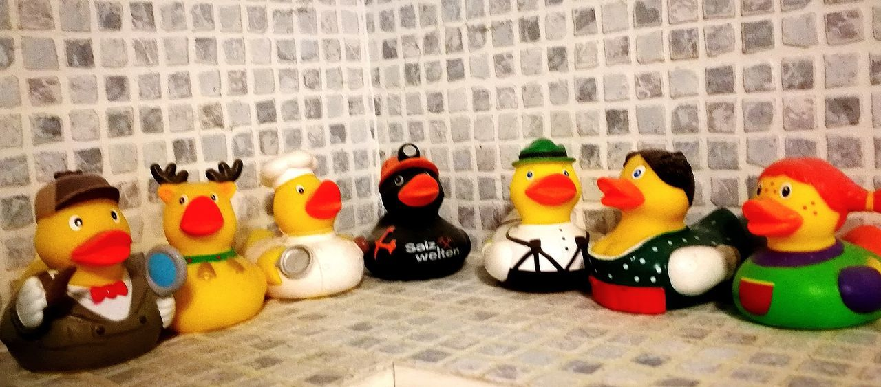 rubber duck Rubber Duck Art And Craft Animal Representation Multi Colored No People Day Variation Indoors  Close-up
