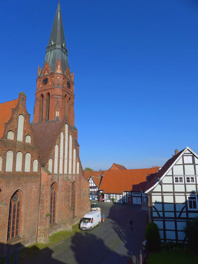 Architecture Blue Building Exterior Built Structure City City Life Clear Sky Nienburg No People Sky Travel Destinations Walking Around
