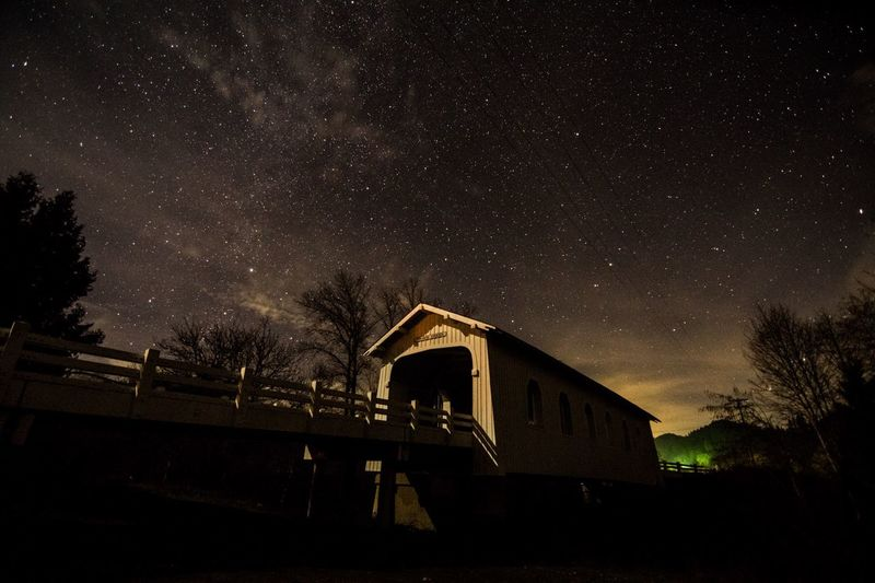 Low Angle View Of Railway Bridge And Trees Against Starry Sky