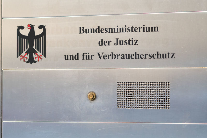 Sign of Bundesministerium der Justiz und für Verbraucherschutz (BMJ), German Federal Ministry of Justice and Consumer Protection Government Ministry Ministry Of Justice Adler Bundesministerium Bundesministerium Der Justiz Close-up Germany Information Sign No People Sign