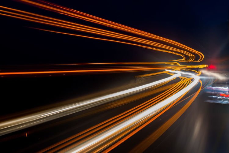 Long Exposure Motion Light Trail Illuminated Speed Blurred Motion Night Light - Natural Phenomenon No People