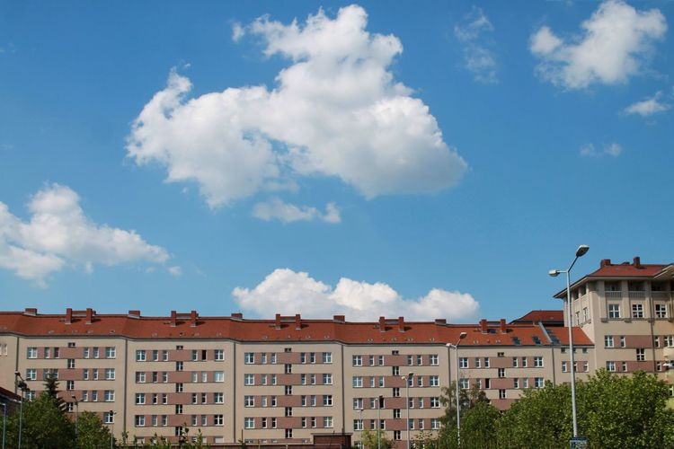 Residential district against sky