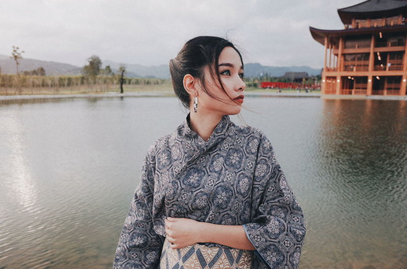 Thailand Women Light And Shadow Japanese  Portrait YUKATA Beautiful Woman Water City Portrait Standing Young Women Sky Architecture Built Structure Lake Moments Of Happiness 2018 In One Photograph