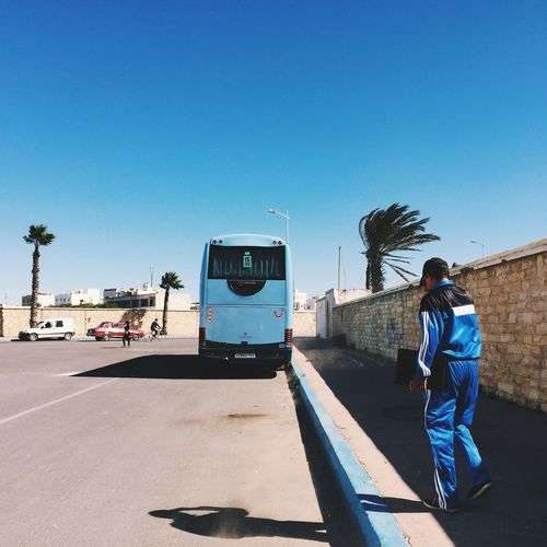 Morocco blue Morocco Blue Sky Blue Everyday Life Streets Bus Color Streetphotography Travel