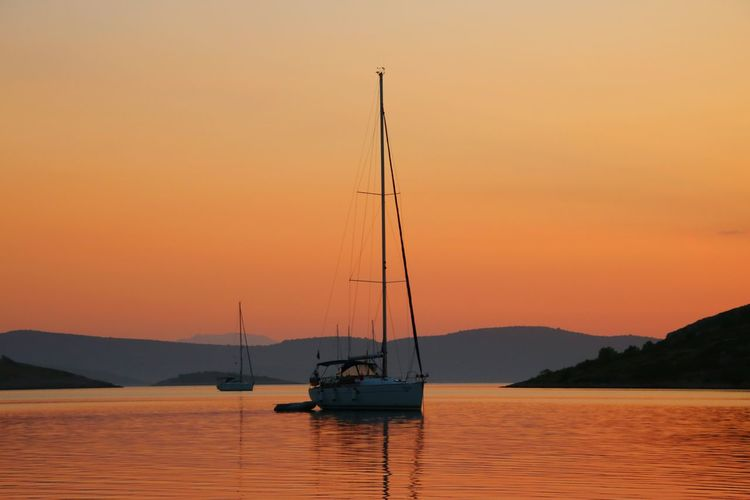 Zut Croatia Sailing Ship Ancor Nautical Vessel Water Sea Tall Ship Sunset Mountain Sailboat Yacht Harbor Sailing Ship