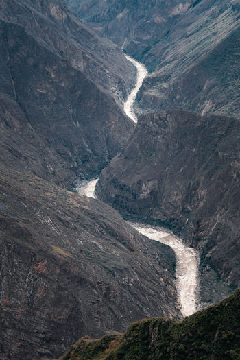High Angle View Of Water Flowing Through Land