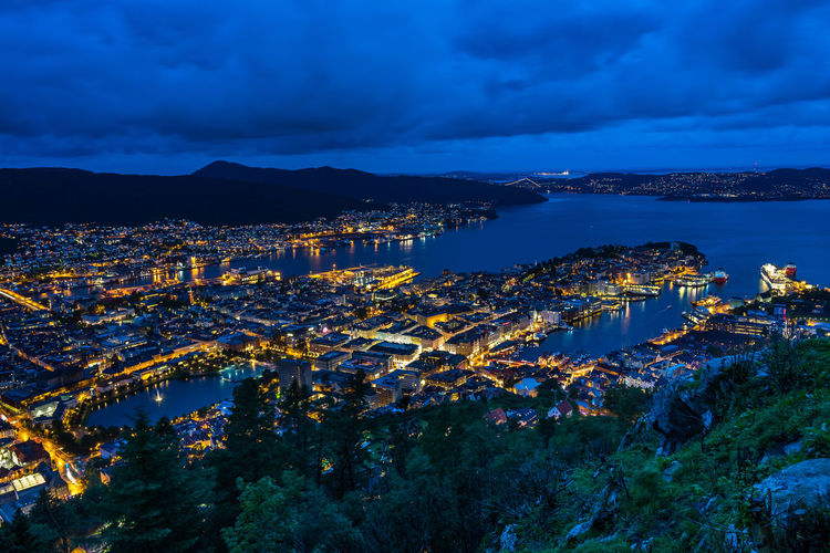 Night cityscape of Bergen viewed from Mount Floyen, Norway Norway Norway🇳🇴 Norge Northern Europe Scandinavia Bergen Bergen,Norway Fløyen Architecture Cloud - Sky Building Exterior Sky Water Built Structure City Cityscape Sea Illuminated Nature Building High Angle View No People Mountain Residential District Scenics - Nature Dusk Beauty In Nature Outdoors