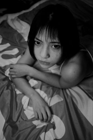 Portrait Child Childhood Looking At Camera One Person Bed Furniture Indoors  Real People Girls Females High Angle View Women Lying Down Relaxation Lifestyles Innocence Bangs Hairstyle Light And Shadow Black And White Photography Sexygirl Indoors  The Photojournalist - 2018 EyeEm Awards Girly