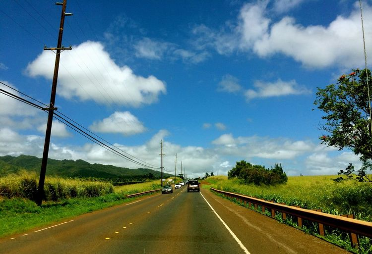 Hawaii Oahu Go To Northshore Drive Sunny Day Blue Sky
