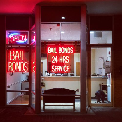 Bad part of town Legal Bail Text Western Script Communication Sign Architecture Indoors  Red