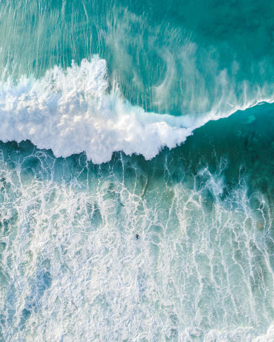 High angle view of wave at sea