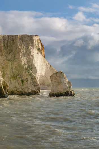 The chalk coastline at seaford in sussex