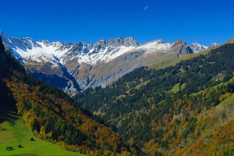 Mountain Mountain Range Scenics Nature Beauty In Nature Tranquil Scene Snow Landscape Tranquility Day Outdoors Clear Sky Green Color No People Sunlight Blue Tree Snowcapped Mountain Sky Tektonikarena Sardona Glarner Hauptüberschiebung Sardona Pfäfers Valens Switzerland