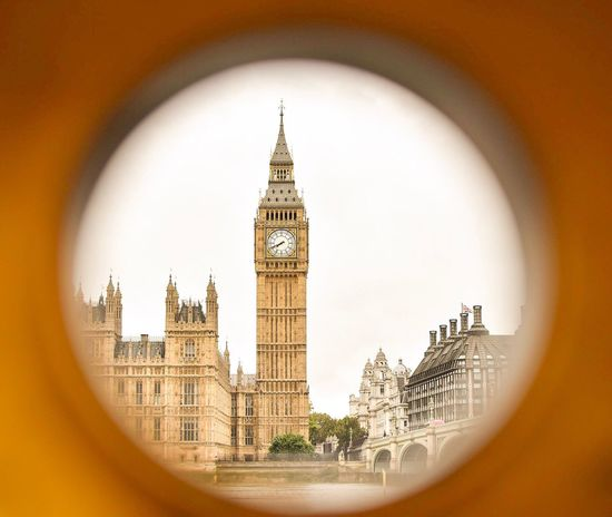 Peaking through at Big Ben Architecture Clock Tower Building Exterior City Outdoors Clock City Life London London Lifestyle LONDON❤ Big Ben Big Ben, London Yellow Peaking Through Peaking Framed Vision Framed Paint The Town Yellow