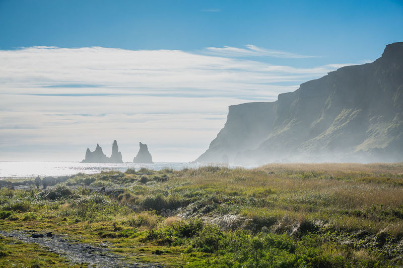 Architecture Blue Day Fog Iceland Landscape Mountain Natural Parkland Nature No People Outdoors Sky Social Issues Tourism Travel Travel Destinations Tree Tree Area Urban Skyline Water