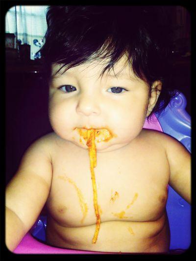 Hello World Eating Spaghetti