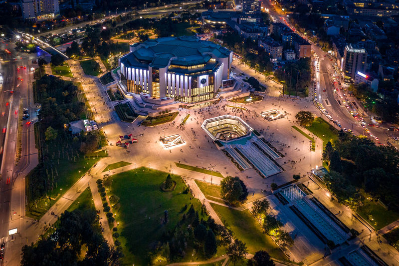 Sofia tonight 1 Bułgaria Copy Space Eastern Europe Twilight Unrecognizable People Aerial View Architecture Building Building Exterior Built Structure City Cityscape Dronephotography Europe High Angle View Illuminated Landscaped Night Outdoors Park Street Transportation Travel Destinations Tree Unrecognizable Person