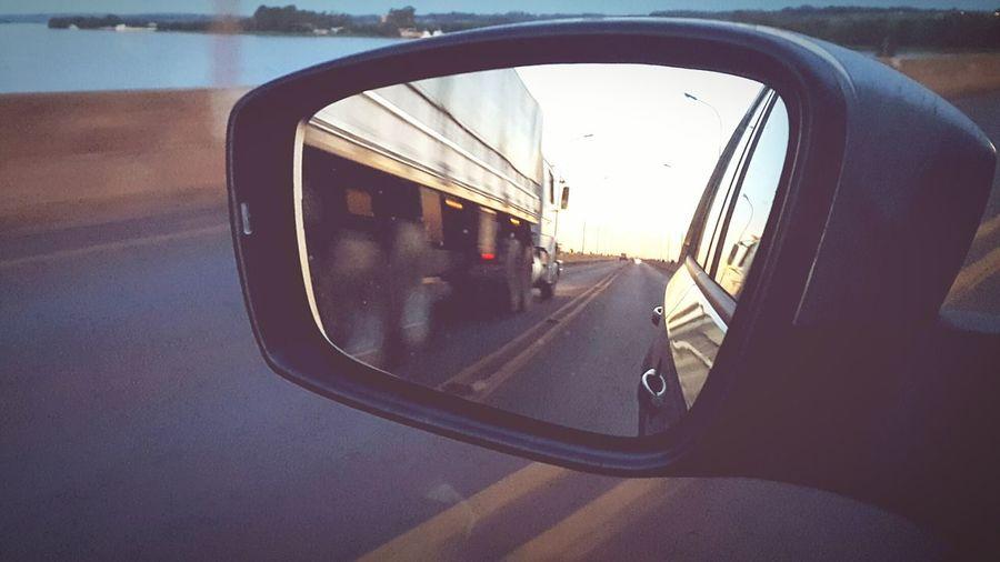 Roadtrip Roadlife Mirror Truckinglife Looking Back Rear View Rearviewmirrorshot Brazilian Bridges Speed Limit Sideways Art Is Everywhere Big Rivers Paraná River Iguassu Lake Airton Senna Bridge